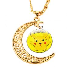 Gold Moon Glass Dome Pokemon Collar Necklace