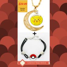 Pokeball Bracelet + Pikachu 24K Gold Necklace